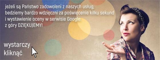 Jeżeli są Państwo zadowoleni z naszych usług, będziemy bardzo wdzięczni za poświęcenie kilku sekund i  wystawienie oceny w serwisie Google<br /> Wystarczy kliknąć poniższy link</p> <p>http://search.google.com/local/writereview?placeid=ChIJSxTi47fLHkcRGiHUyROtYBU</p> <p>Z góry dziękujemy!